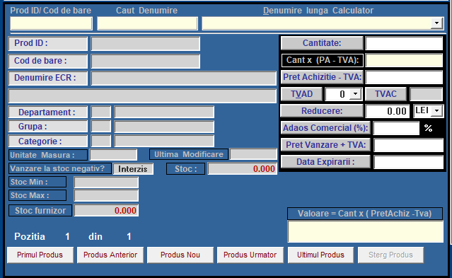 Formular adaugare produs in NIR